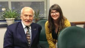 Interviewing Buzz Aldrin.
